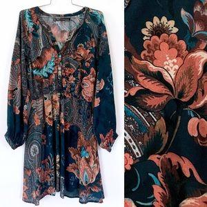 TRF Zara blue floral boho paisley dress